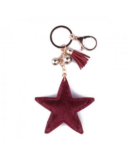 Porte-clés étoile à poils et strass rouge bordeaux