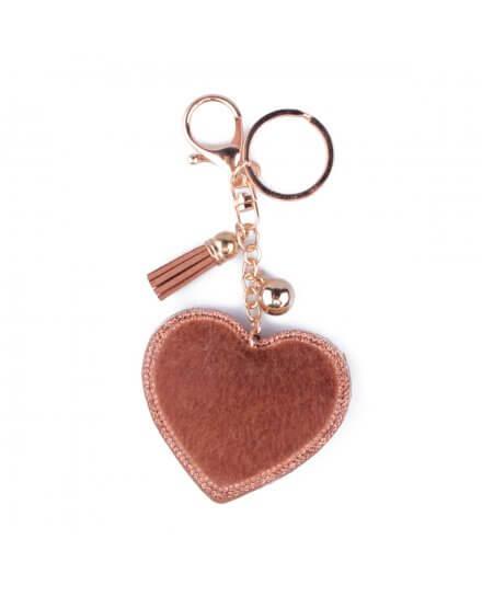 Porte-clés cœur à poils et strass camel