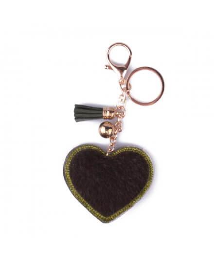 Porte-clés cœur à poils et strass vert kaki
