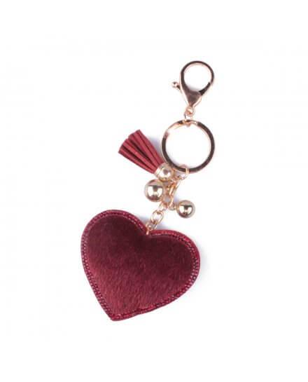 Porte-clés cœur à poils et strass rouge bordeaux