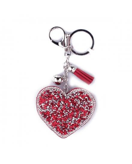 Porte-clés coeur rouge à perles et strass argent et pompon rouge