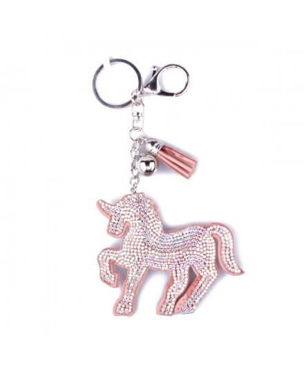 Porte-clés licorne rose strass