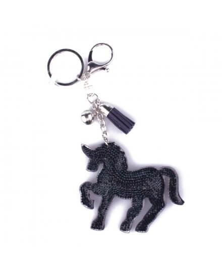 Porte-clés licorne bleu marine strass