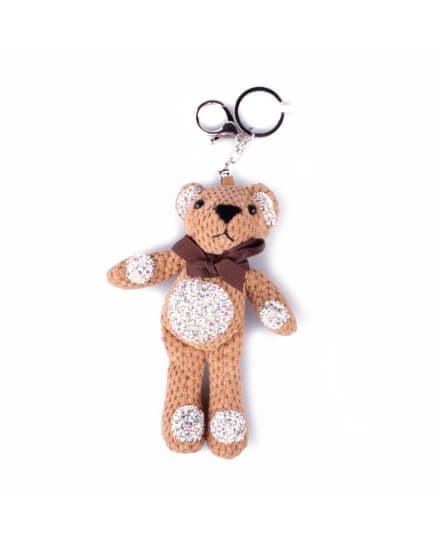 Porte-clés peluche ourson beige à strass