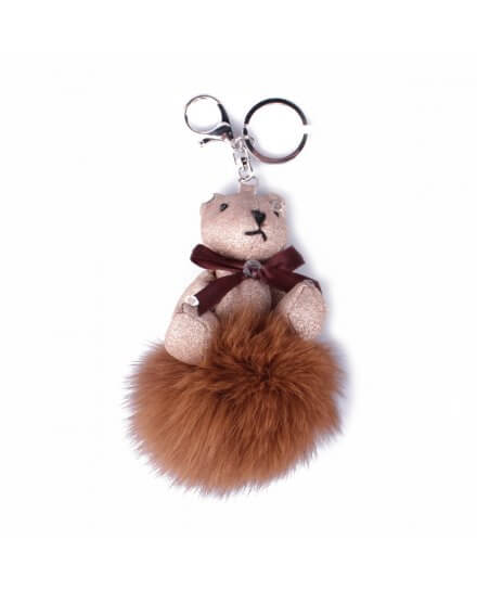 Porte-clés peluche ourson pailleté beige et son pompon camel