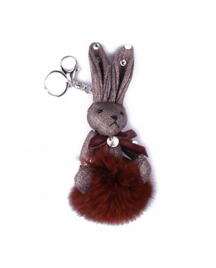 Porte-clés peluche lapin pailleté et son pompon marron