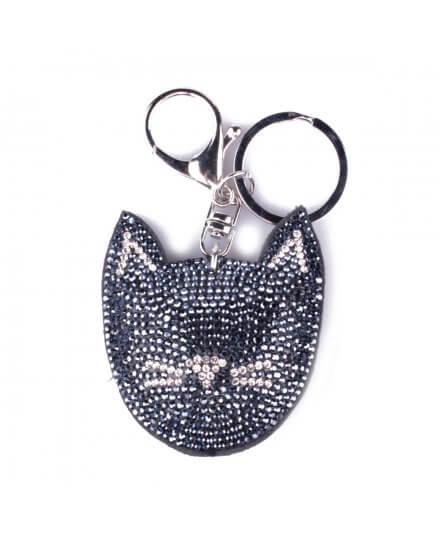 Porte-clés tête de chat à strass bleus et argent