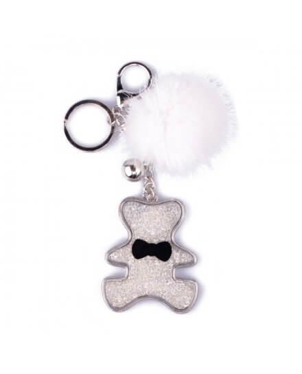 Porte-clés ourson de strass argent et pompon blanc