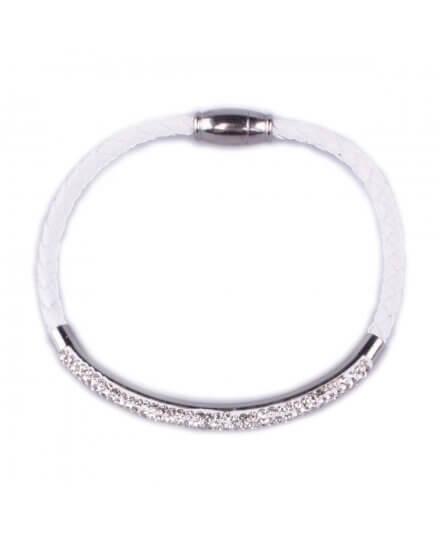 Bracelet MYLE MYLA tresse blanche jonc strass acier inoxydable