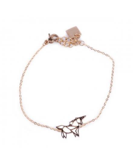 Bracelet acier MILE MILA licorne doré