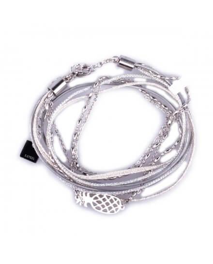 Bracelet acier MILE MILA double Ananas argent et gris