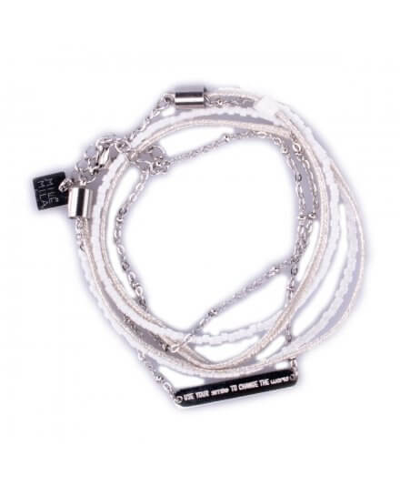 "Bracelet acier MILE MILA ""Use your smile to change the world"" blanc"