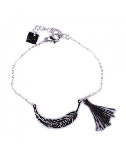 Bracelet MILE MILA acier argent plume et pompon noir