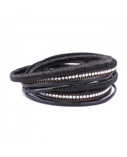 Bracelet multirangs LOL lignée de strass noir argent
