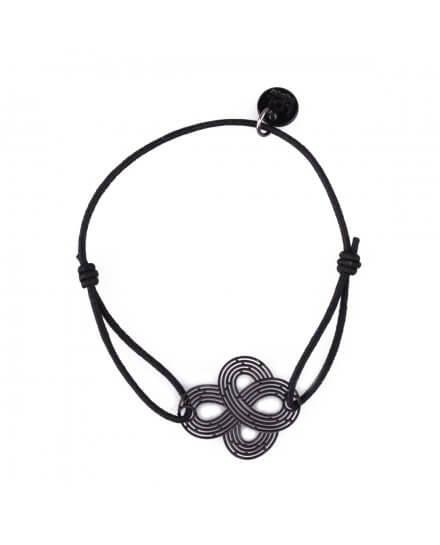 Bracelet LOL élastique noir noeud filigrane