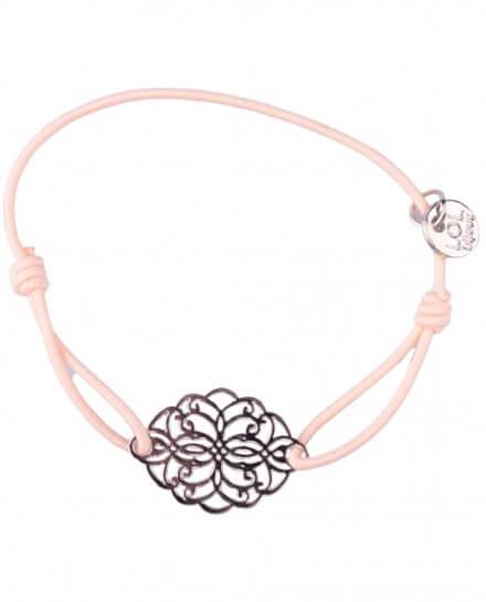 Bracelet LOL élastique rose pâle rosace allongée filigrane argent