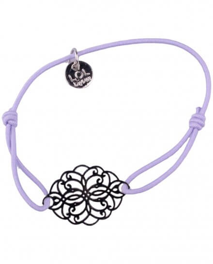 Bracelet LOL élastique parme rosace allongée filigrane argent