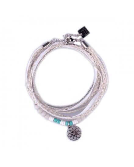 Bracelet acier MILE MILA double tour gris vert et rosace argent