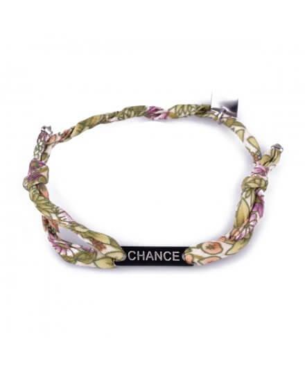 Bracelet réglable MILE MILA «Chance» acier argent tissu vert blanc mauve