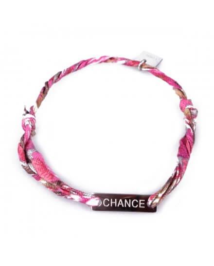 Bracelet réglable MILE MILA «Chance» acier argent tissu rose blanc marron