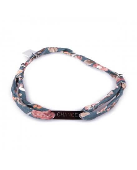 Bracelet réglable MILE MILA «Chance» acier argent tissu vert rose beige