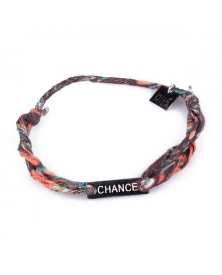 Bracelet réglable MILE MILA «Chance» acier argent tissu marron orange bleu