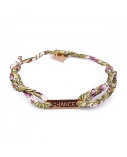 Bracelet réglable MILE MILA «Chance» acier doré tissu vert blanc mauve