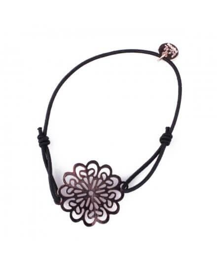 Bracelet LOL élastique noir Marguerite filigrane cuivré