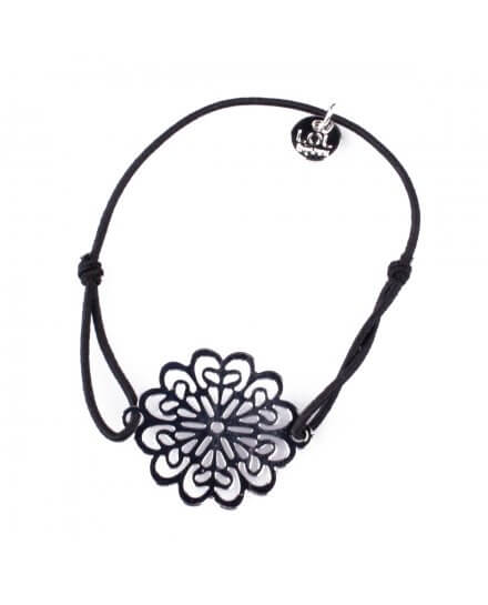 Bracelet LOL élastique noir Marguerite filigrane argent