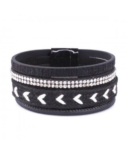 Bracelet manchette LOL noir et blanc tresse et ligne de strass