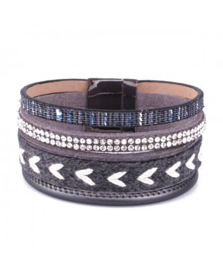 Bracelet manchette LOL gris et blanc tresse et ligne de strass