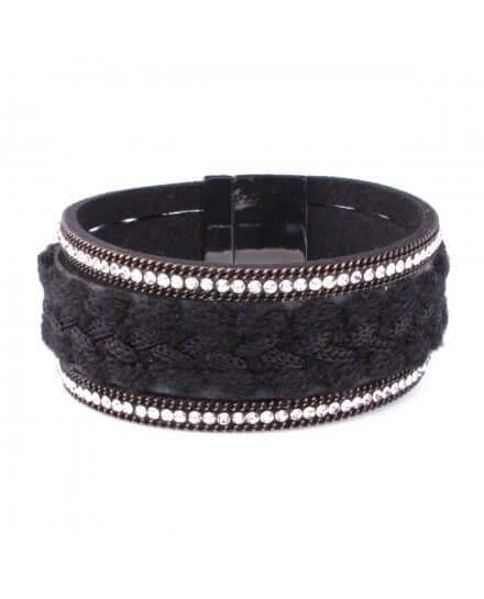Bracelet manchette LOL large tresse noire et double ligne strass