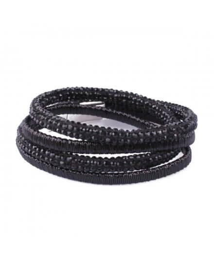 Bracelet LOL noir multirangs Serpentistrass