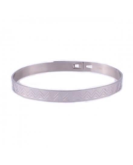 Bracelet MILE MILA jonc acier argent motifs ethniques
