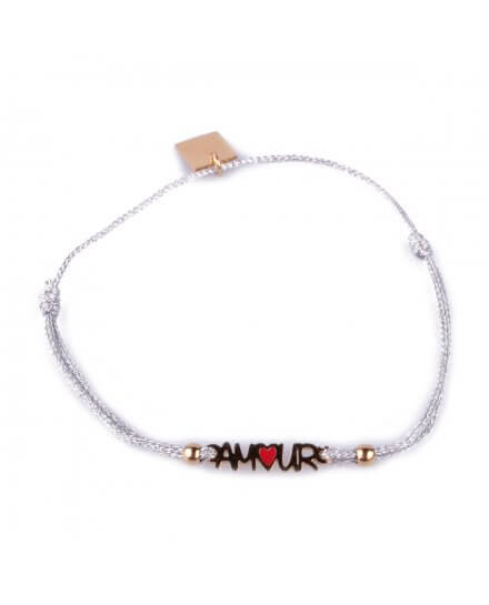 Bracelet fin réglable MILE MILA Amour acier doré et tissu argent