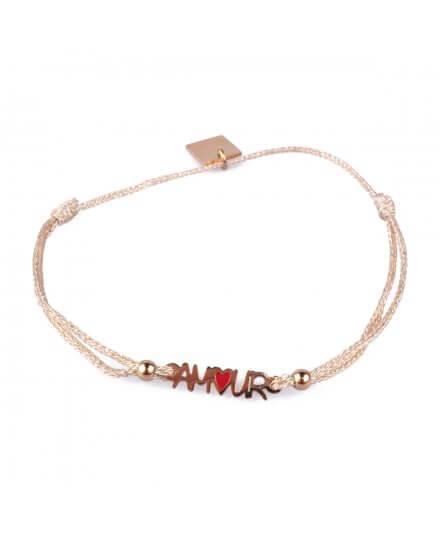 Bracelet fin réglable MILE MILA Amour acier doré et tissu