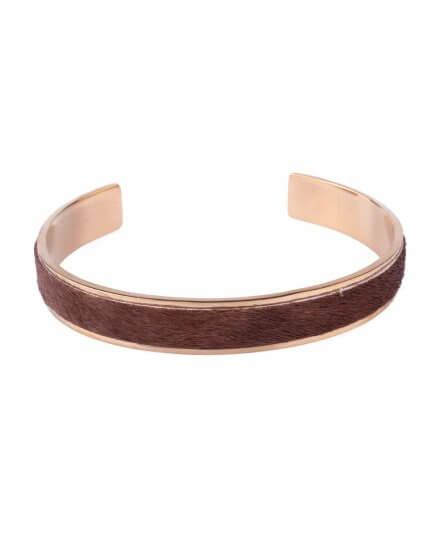 Bracelet jonc acier doré fausse fourrure marron
