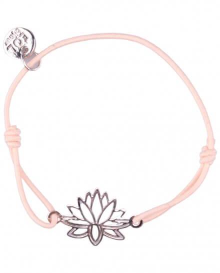 Bracelet LOL élastique rose pâle lotus filigrane argent