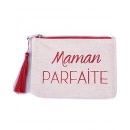 Pochette LOL beige pailletée Maman Parfaite rouge et pompon