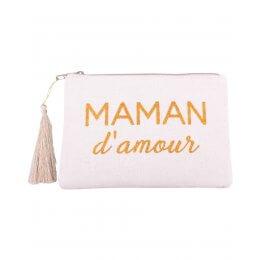 Pochette LOL beige pailletée Maman d'amour doré et pompon