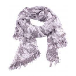 Grosse écharpe grise et blanche motifs ethniques