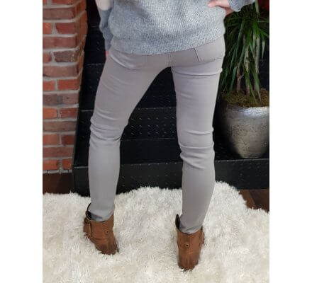Pantalon gris clair slim coupe confort taille haute
