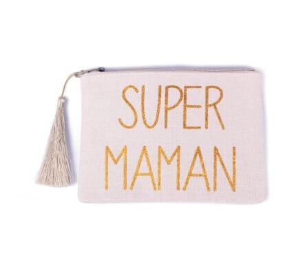 Pochette LOL beige pailletée Super Maman doré et pompon