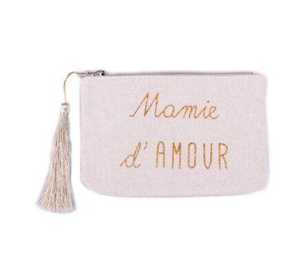 Petite pochette LOL beige pailletée Mamie d'amour doré et pompon