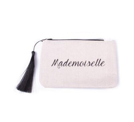 Petite pochette LOL beige pailletée Mademoiselle noire et pompon
