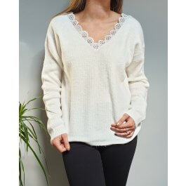 Pull maille fine col et dos V broderies fleuries-Blanc