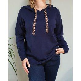 Pull à capuche cordons léopard-Bleu