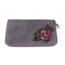 Portefeuille gris fleur à sequins rose dorée