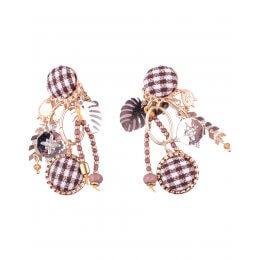 Boucles d'oreilles LOL à clips pied de poule blanc et marron breloques dorées