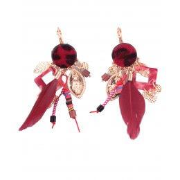 Boucles d'oreilles LOL rouges pastilles léopard à plumes et perles